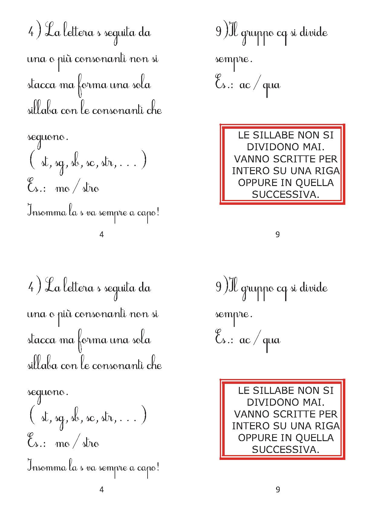 Favorito REGOLE PER LA DIVISIONE IN SILLABE | Maestragraziella ZD04