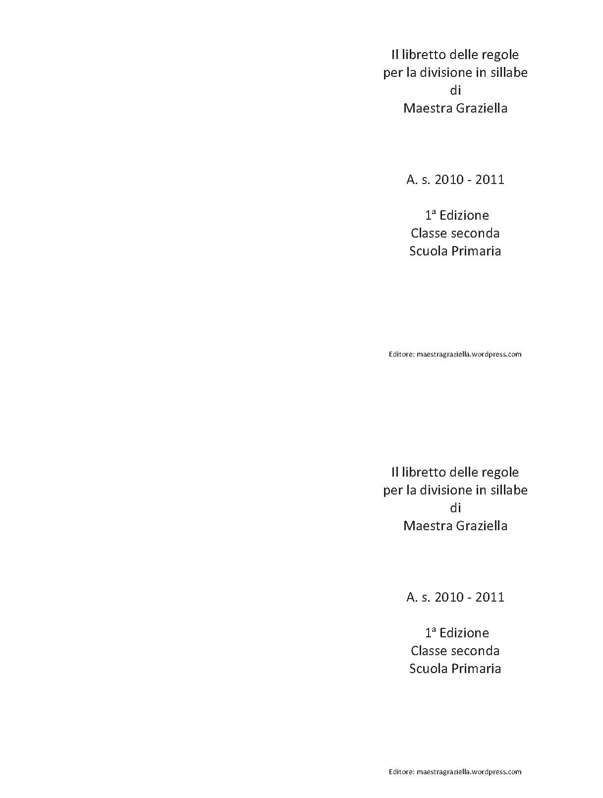 Famoso REGOLE PER LA DIVISIONE IN SILLABE   Maestragraziella GY98